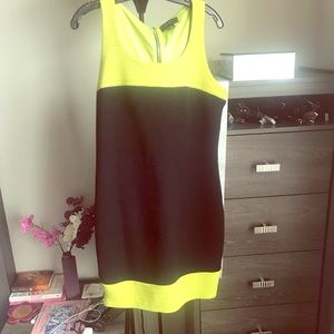 Color block black/neon green dress